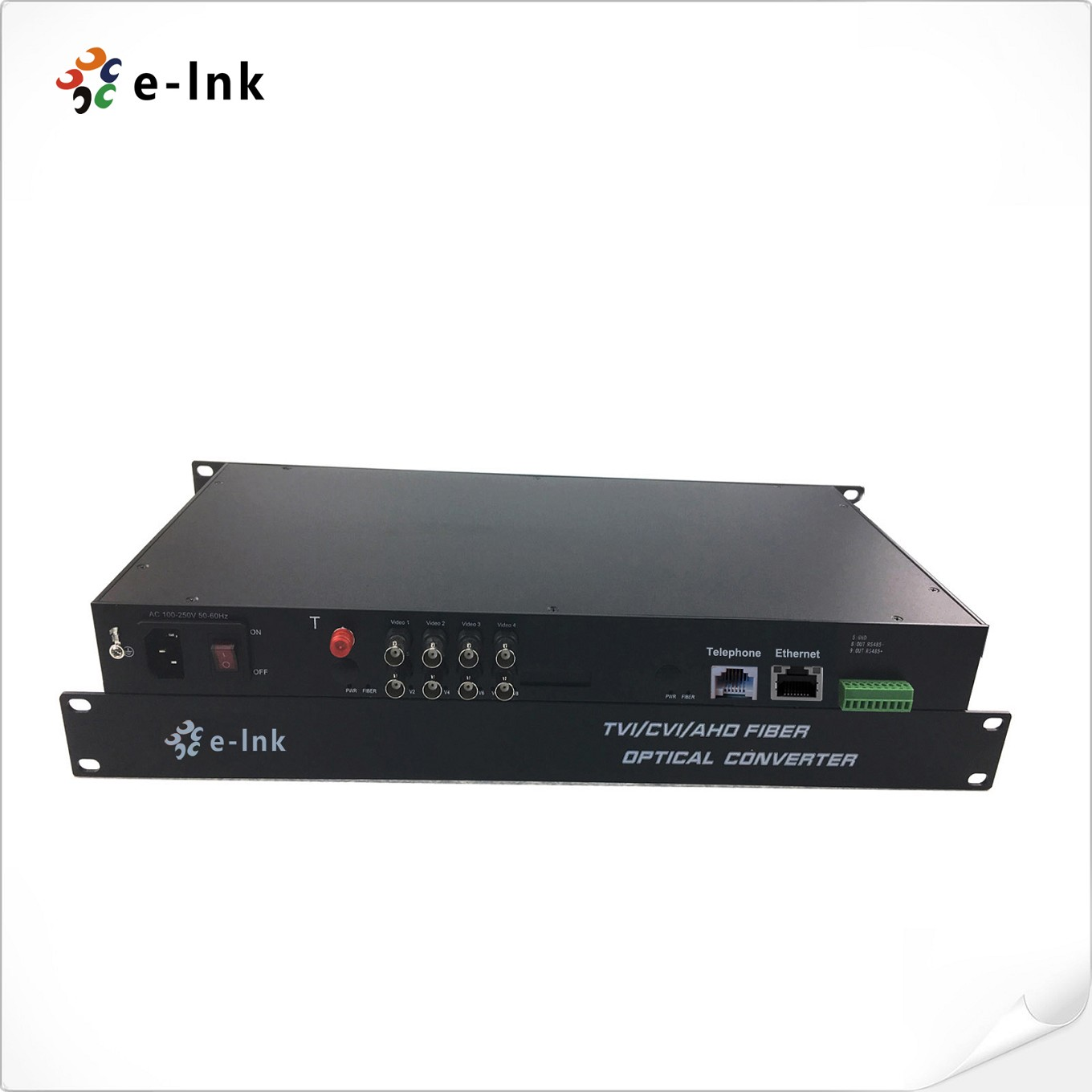 8 Ch 1080P HD Video+10/100M Ethernet FXO/FXS Telephone+RS485 over Fiber Converter