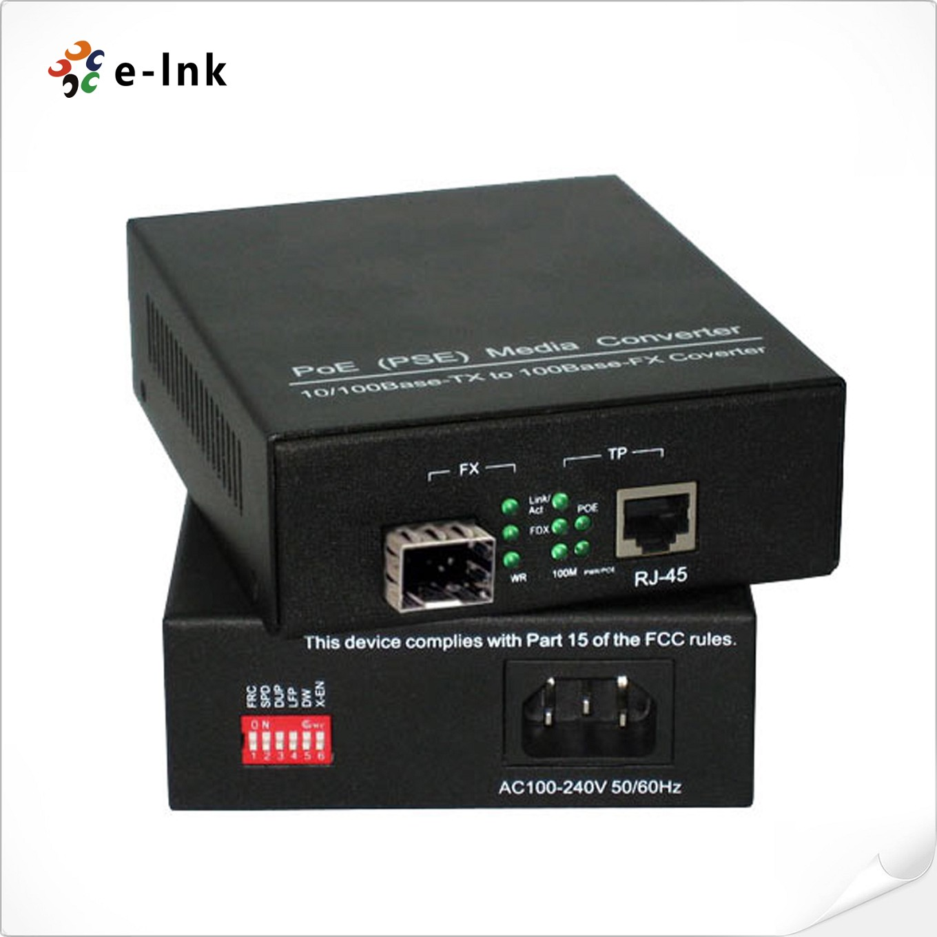 PoE(PSE) 10/100Base-TX to 100Base-FX Media Converter with built-in power supply