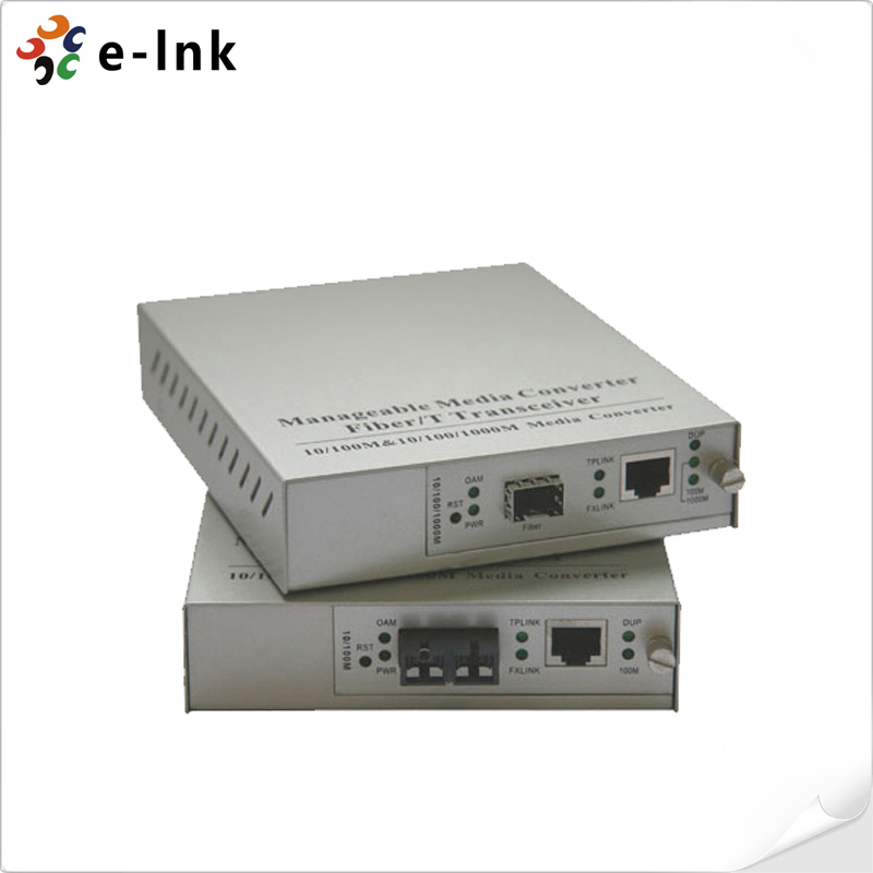 10/100/1000Base-T to 1000Base-X SFP One to One Manageable Media Converter