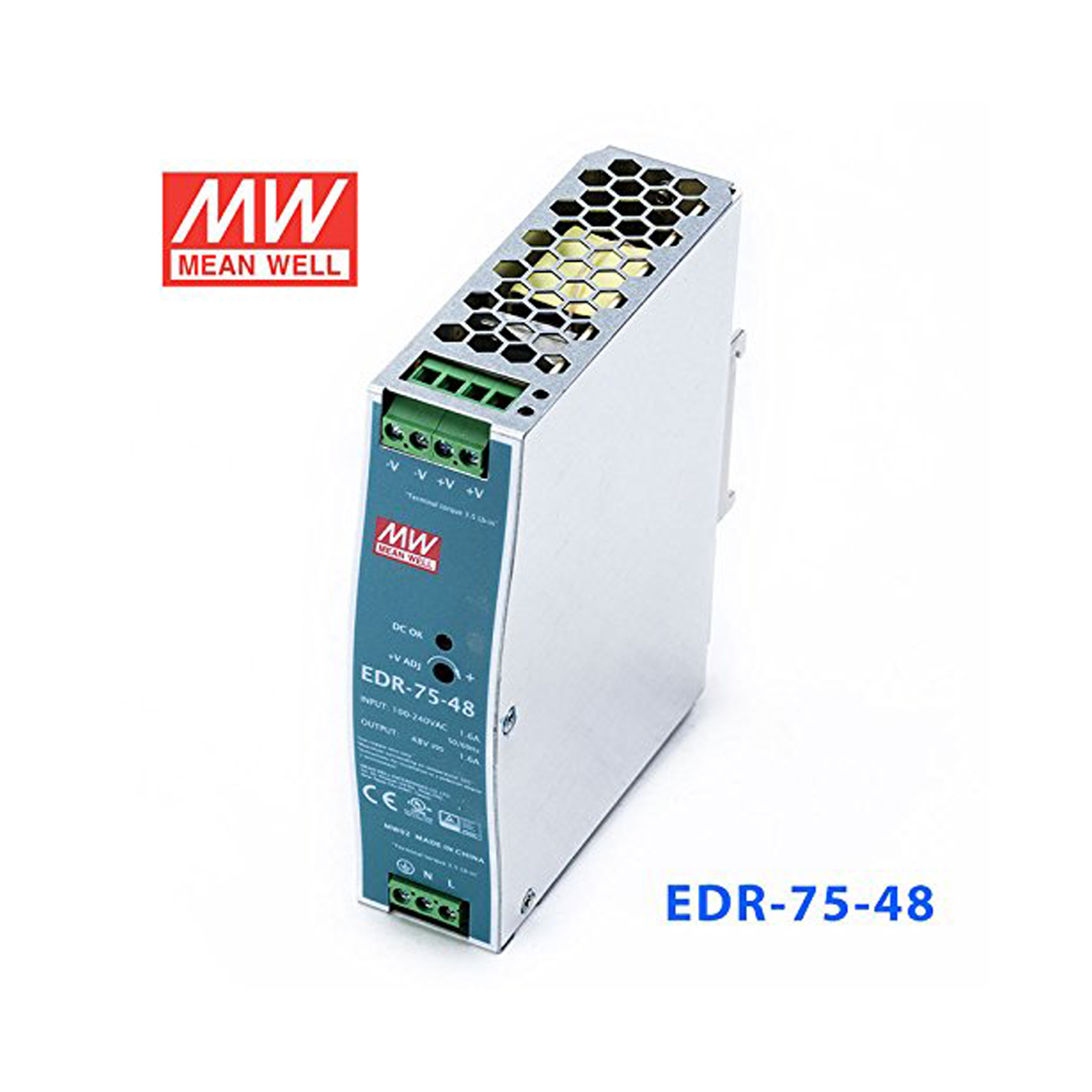 MEAN WELL 75W/48V 1.6A Industrial DIN RAIL Power Supply EDR-75-48