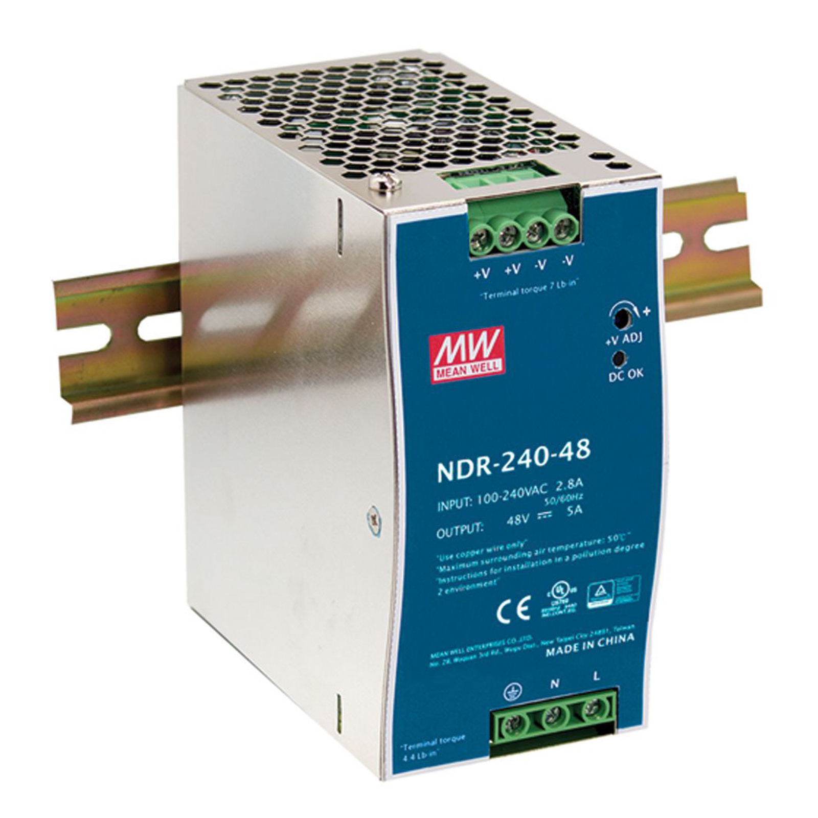 MEAN WELL 240W/48V 5A Industrial DIN RAIL Power Supply NDR-240-48